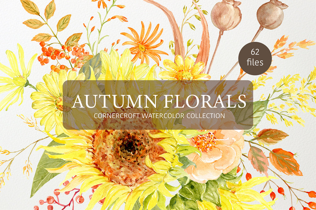 watercolor clipart autumn florals, fall clipart, sunflower, rose, daisy collection
