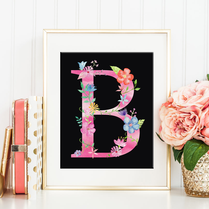 watercolor floral letter b, alphabet b printable, girl room deco, art print