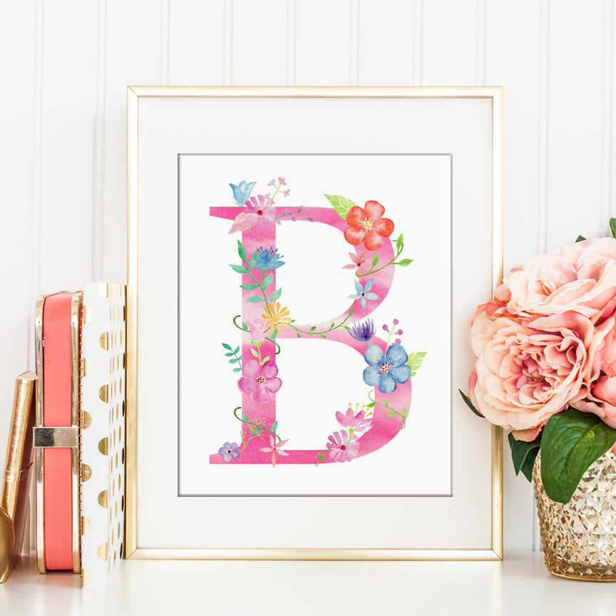 watecolor floral letter b, alphabet b, pastel flowers, instant download