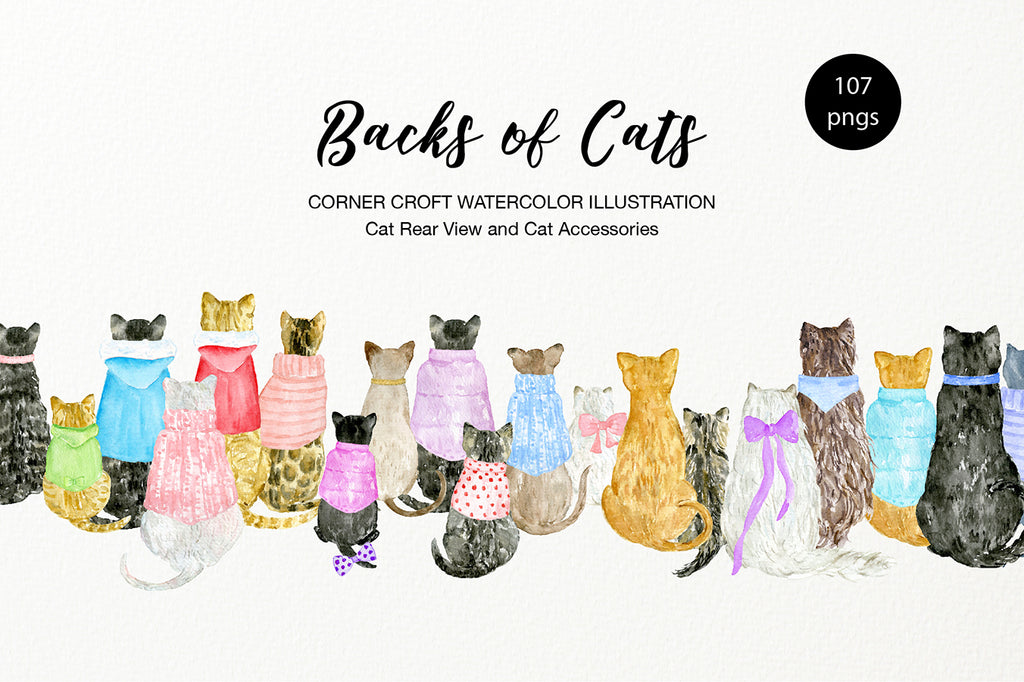 Watercolor cat illustration, back view of cats, cats and kittens
