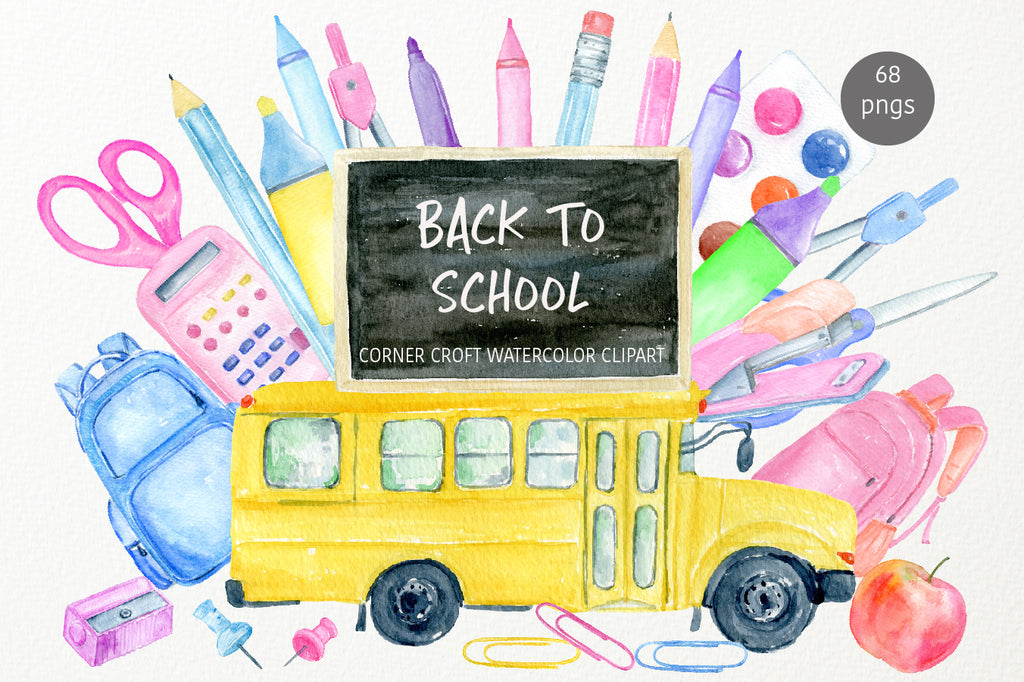 watercolor back to school clipart, stationery, yellow school bus, instant download