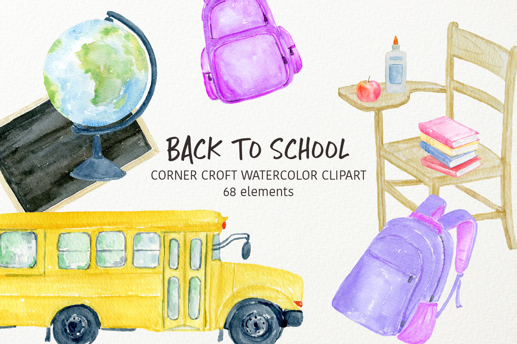 watercolor back to school clipart, stationery clipart, bus, black board, school bad, apple, pen, pencil