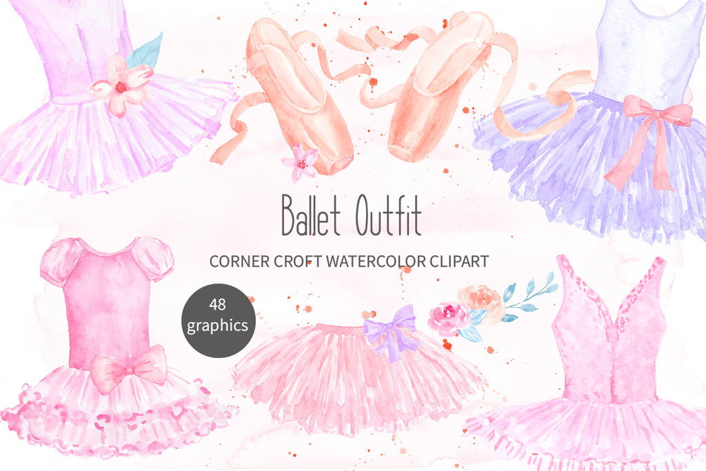 watercolor ballet dress, ballet shoes, pink dress, pink shoes, dance illustration