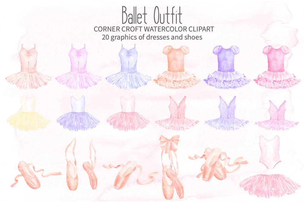 watercolor ballet dress, pink, blue, peach, nursery illustration, personalised print creator