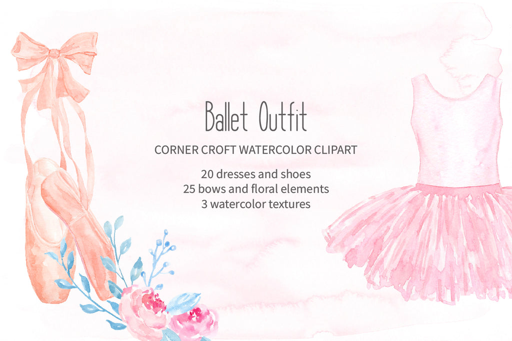 watercolor ballet outfit clipart, ballet shoes, instant download