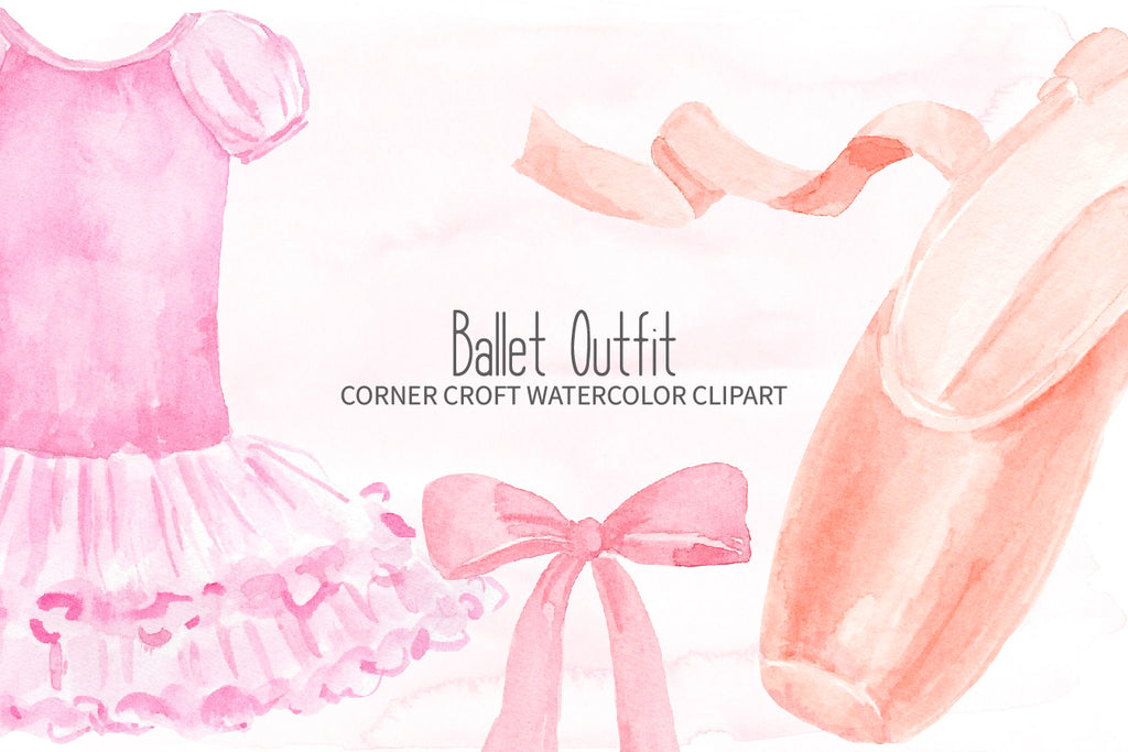 watercolor dance outfit clipart, pink ballet shoes illustration