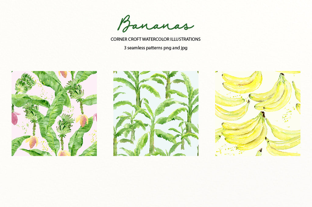 banana tree and leaves, banana pattern, seamless pattern instant download