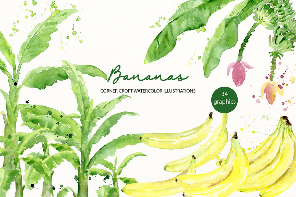 Watercolor banana clipart for instant download
