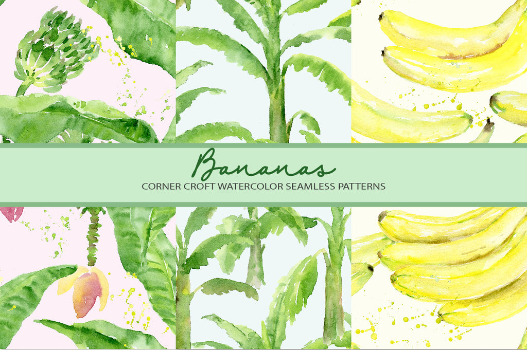 watercolor banana pattern, banana illustration, banana print