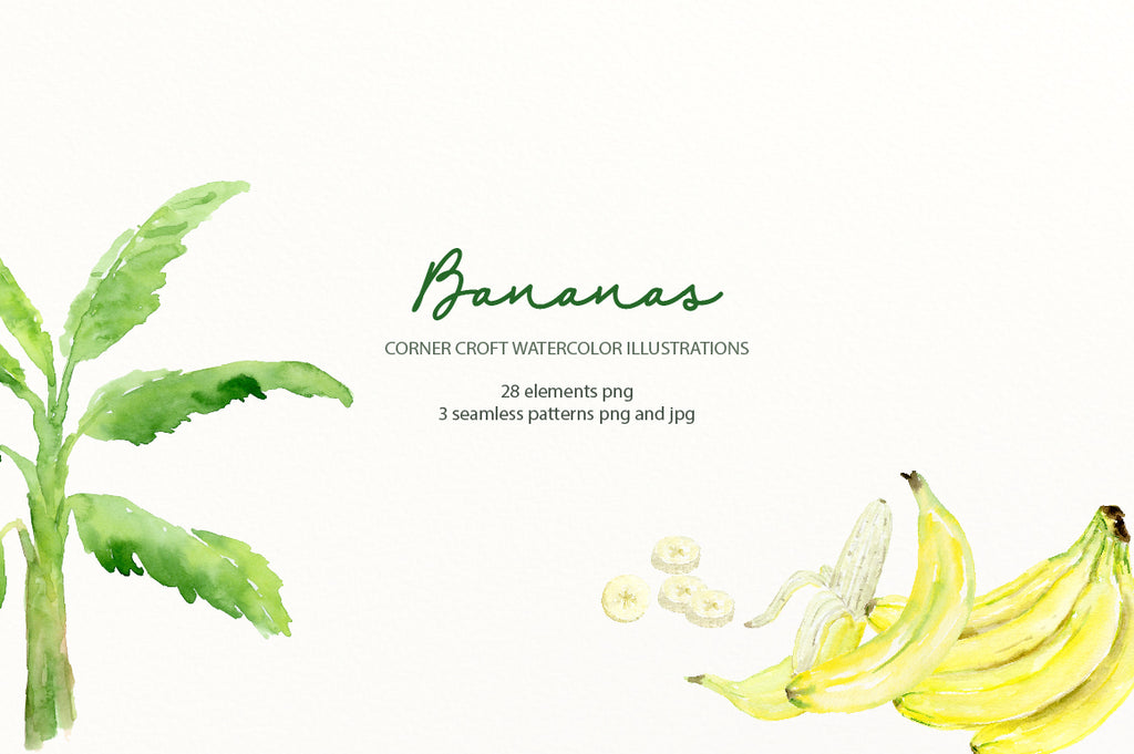 watercolor fruit banana illustration for logo design, fabric desing