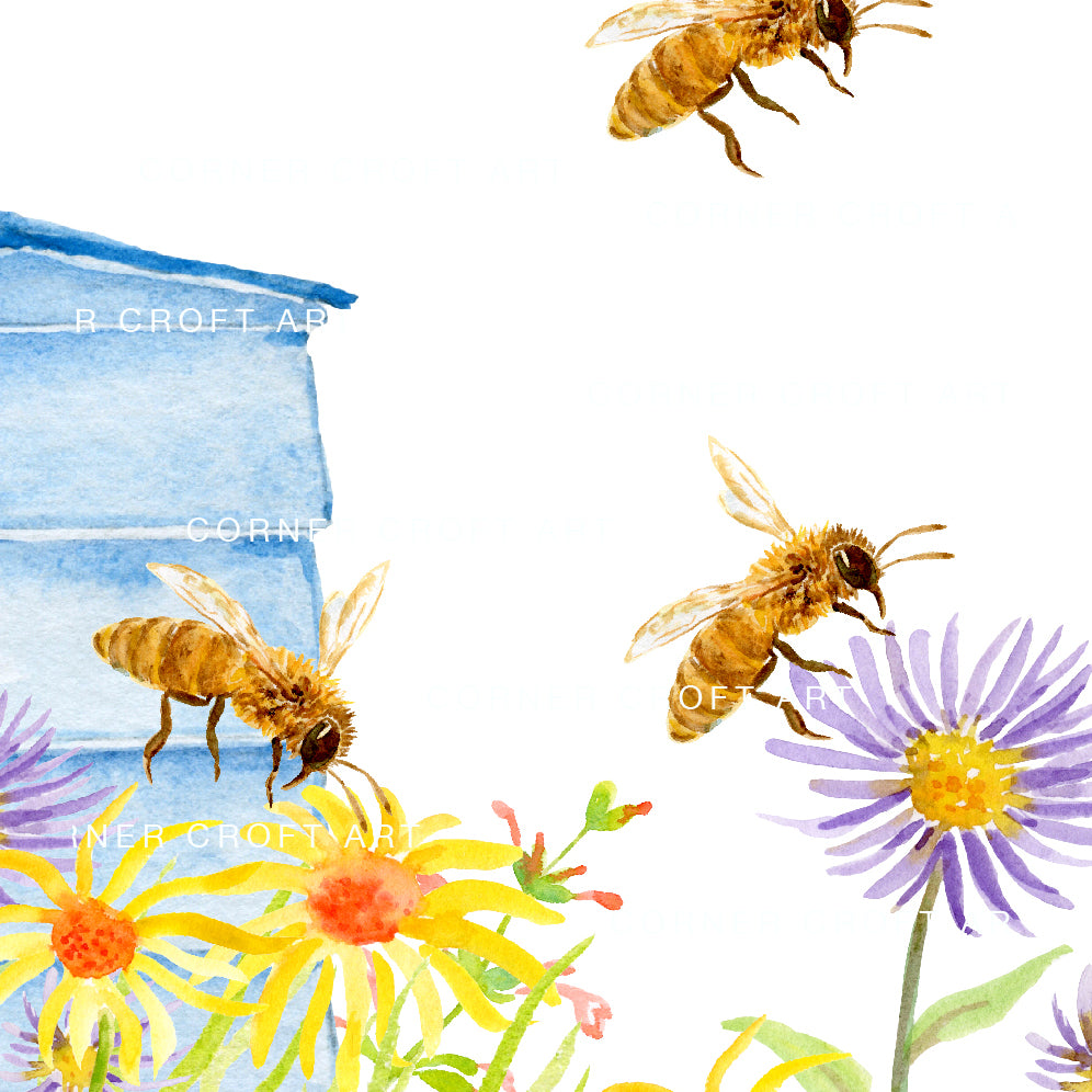 watercolor print of bee hive, bees and wild flowers, instant download