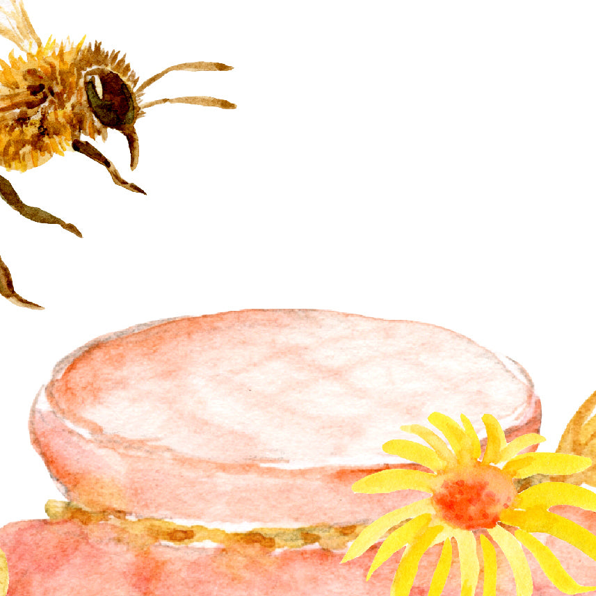 Watercolor bee keeping, honey bees, jar of honey and honeycomb print