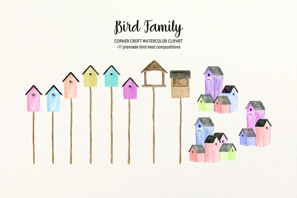 Watercolor Bird family, bird nests and bird feeder