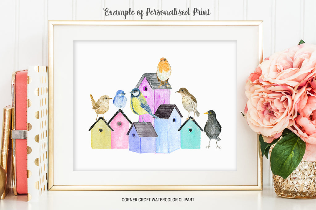 Watercolor bird family, birds on bird nests, wren, robin, thrush, black bird, blue bird and great tit