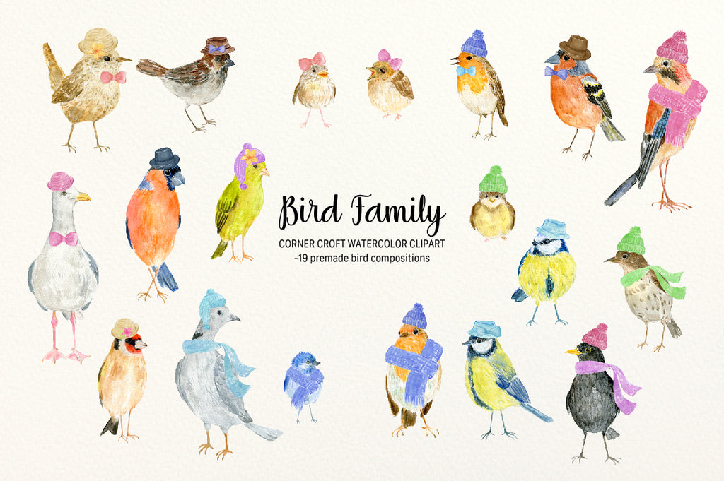 Bird Family Illustration, Watercolor Garden Birds For Making Persoanlised Prints