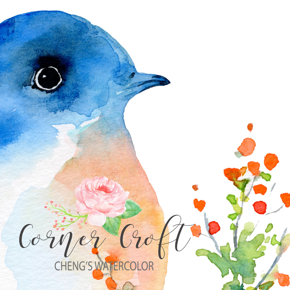 watercolor print of blue bird illustration, festive bird, instant download