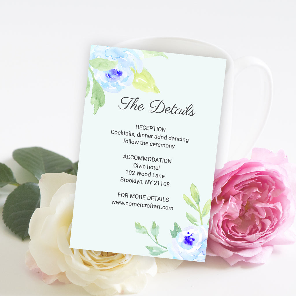 watercolor blue peony the details template, editable template, templett