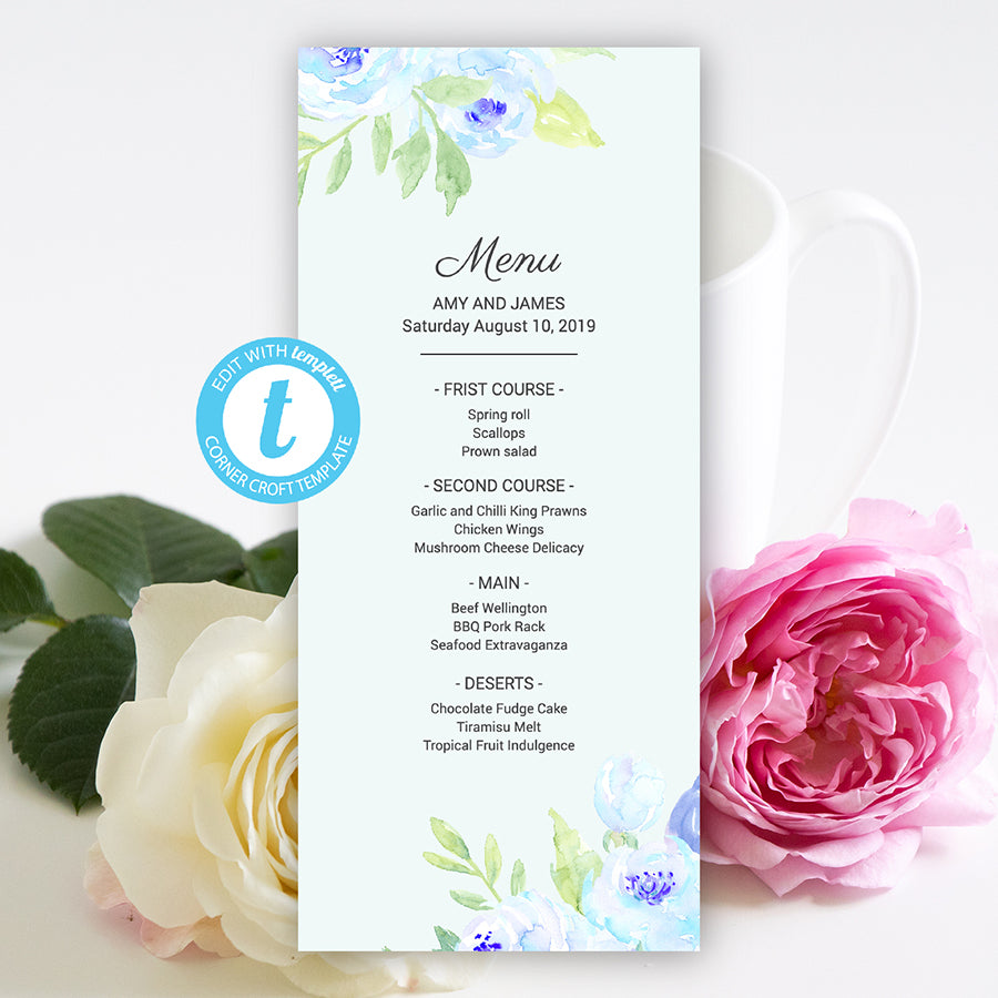 Editable wedding menu, watercolor blue peony, wedding template, templett app