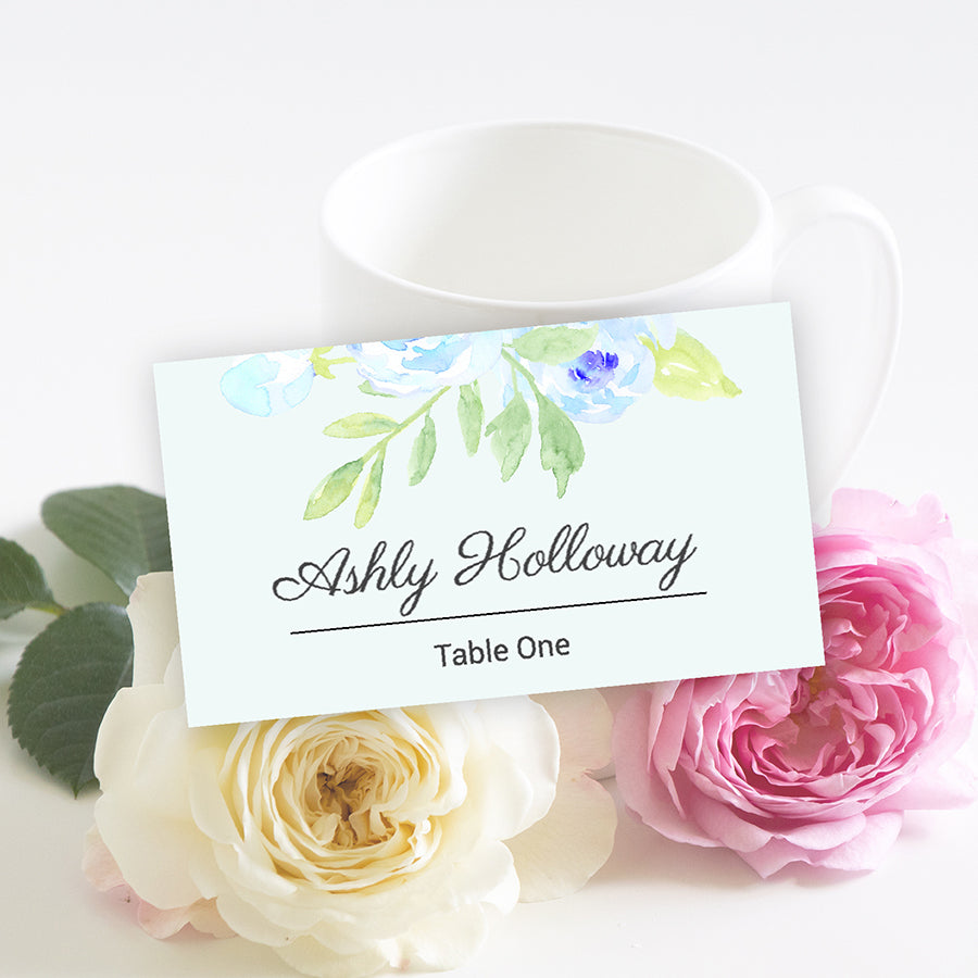 watercolor blue peony table place card template, templett app, browser edit and download