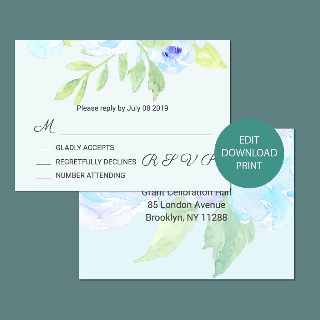 watercolor blue peony customisable wedding RSVP, wedding template, templett app,