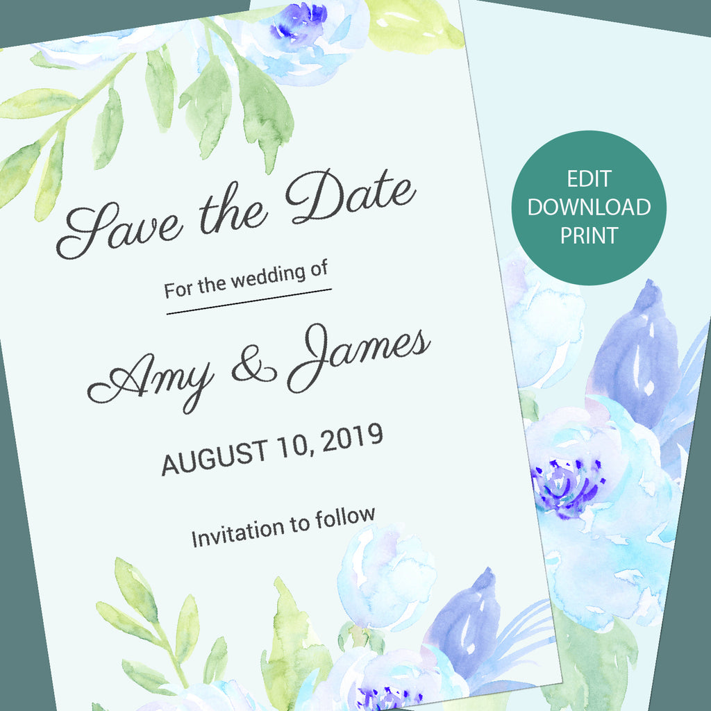 watercolor wedding template, save the date template, blue peony wedding template