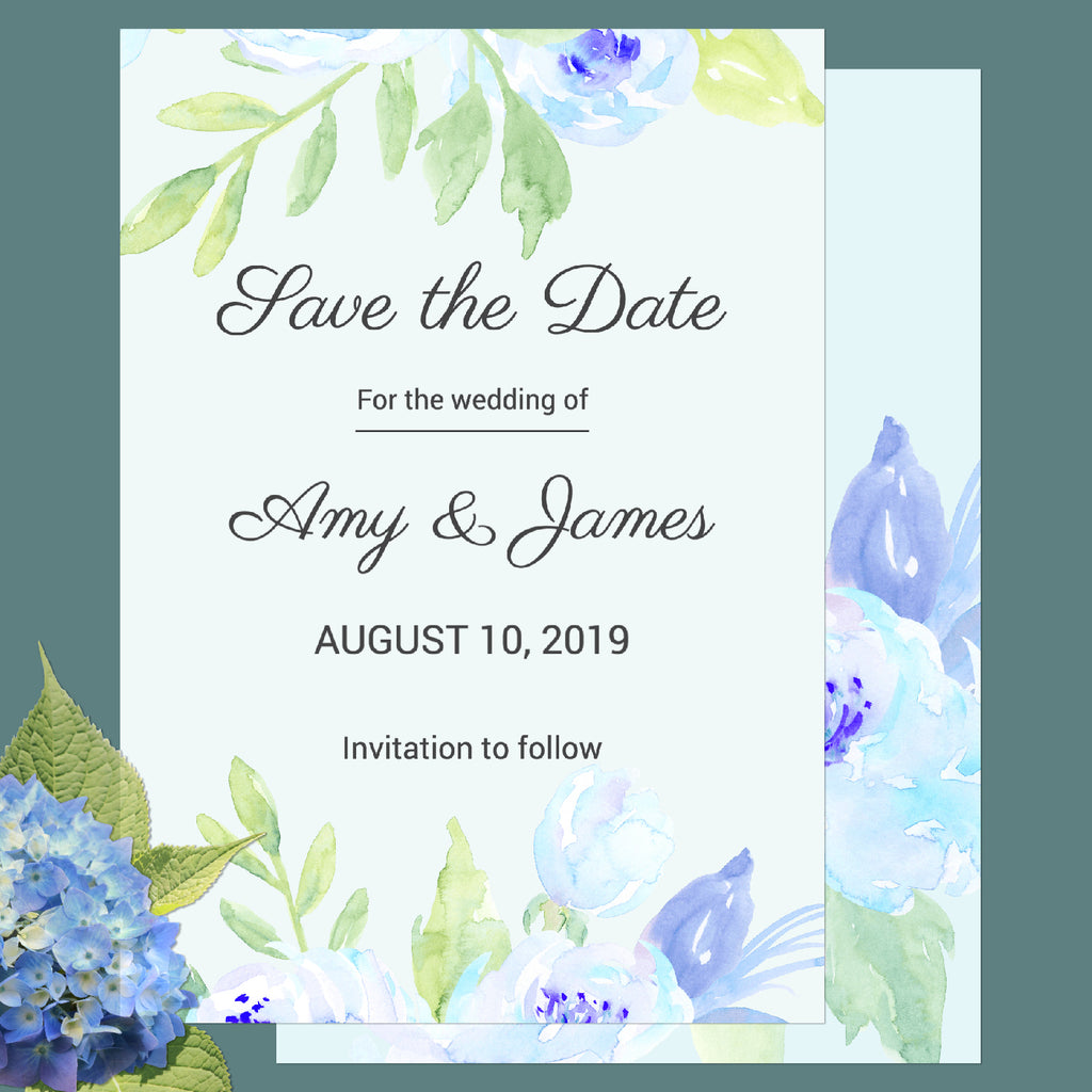 watercolor blue peony customisable wedding SAVE THE DATE, wedding template, templett app,