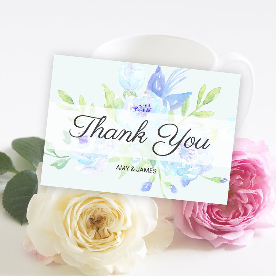 watercolor blue peony thank you card template, editable with web browser