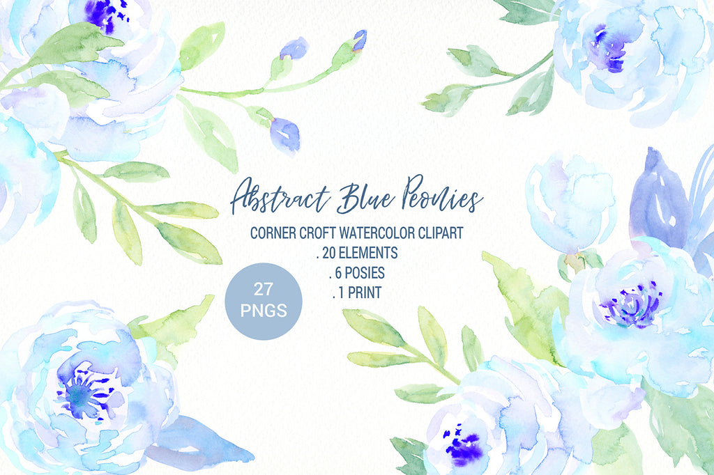 watercolor abstract peony clipart, floral arrangement, dedicate blue flower ilustration