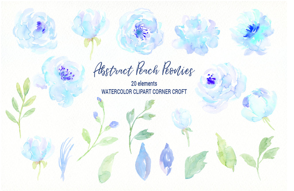 blue peony elements, watercolor clipart, abstract blue flowers