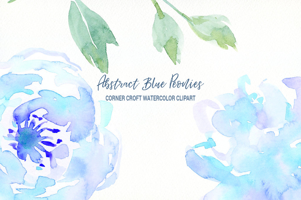 watercolor blue peony illustration instant download