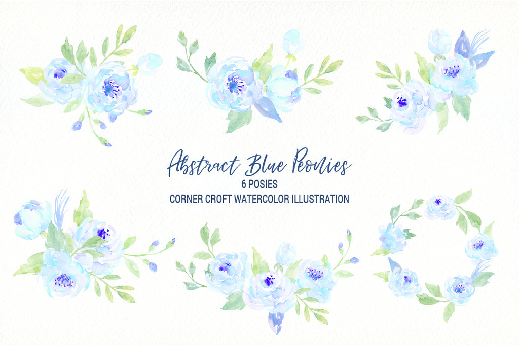 watercolor blue peony posy, floral wreath instant download