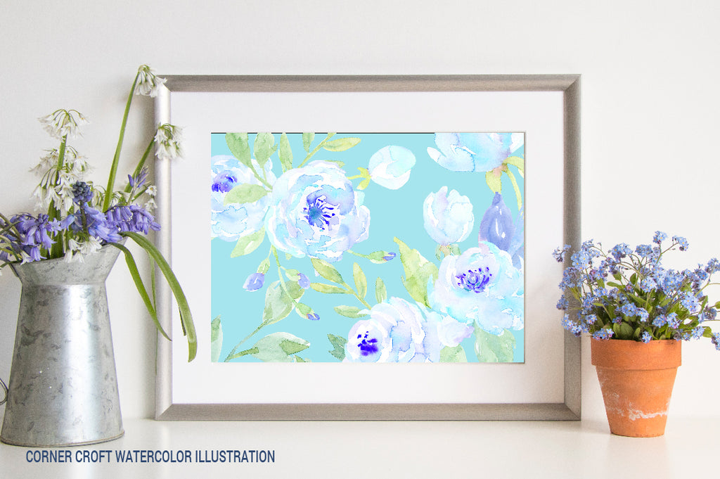 watercolor printable, blue peony flowers, watercolor blue flower