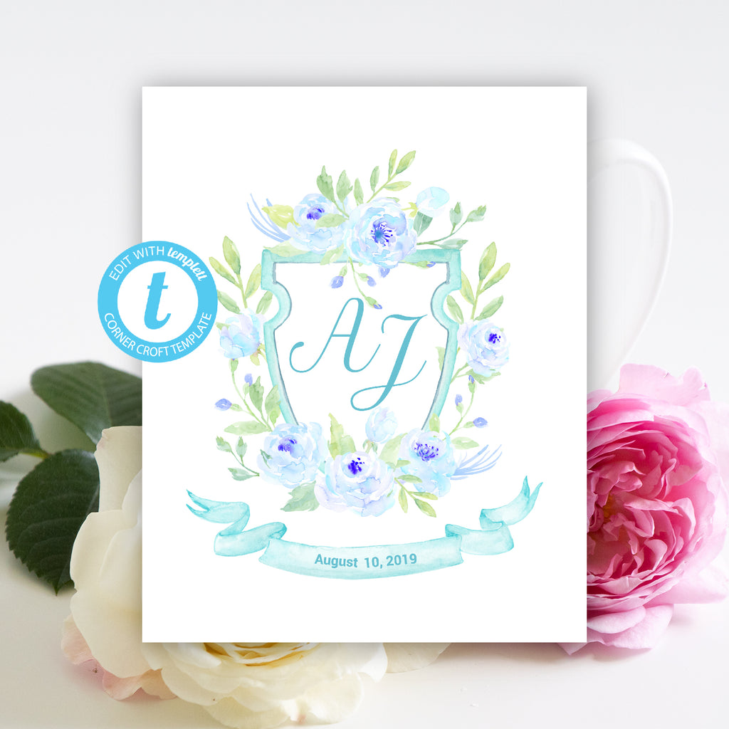 watercolor blue peony crest template, family crest, wedding crest, templett app