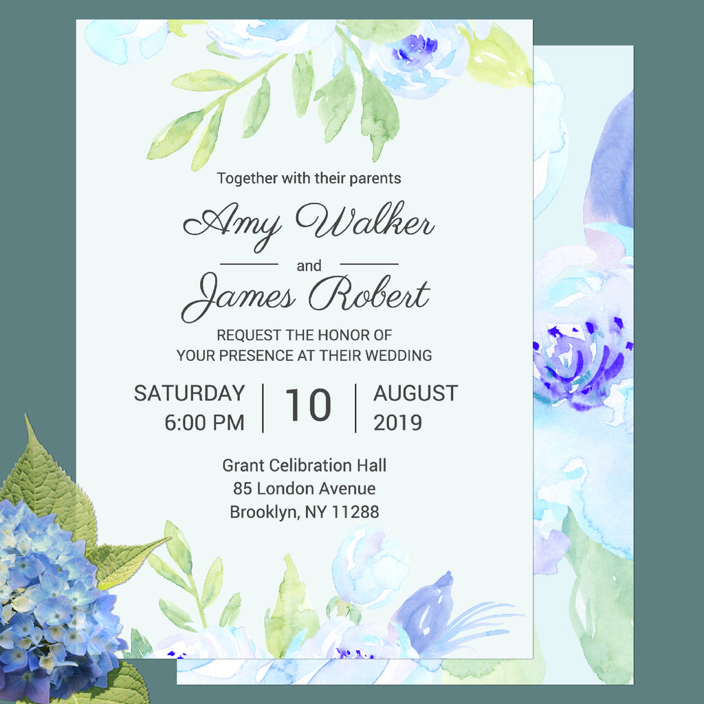 "watercolor blue peony customisable wedding invitation 5""x7"", wedding template, templett app,"
