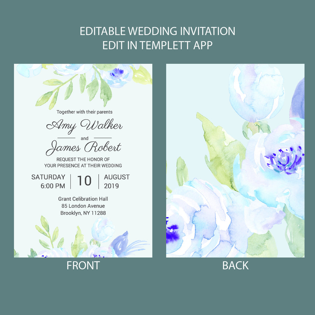 wedding invitation template, full editable, instant download,