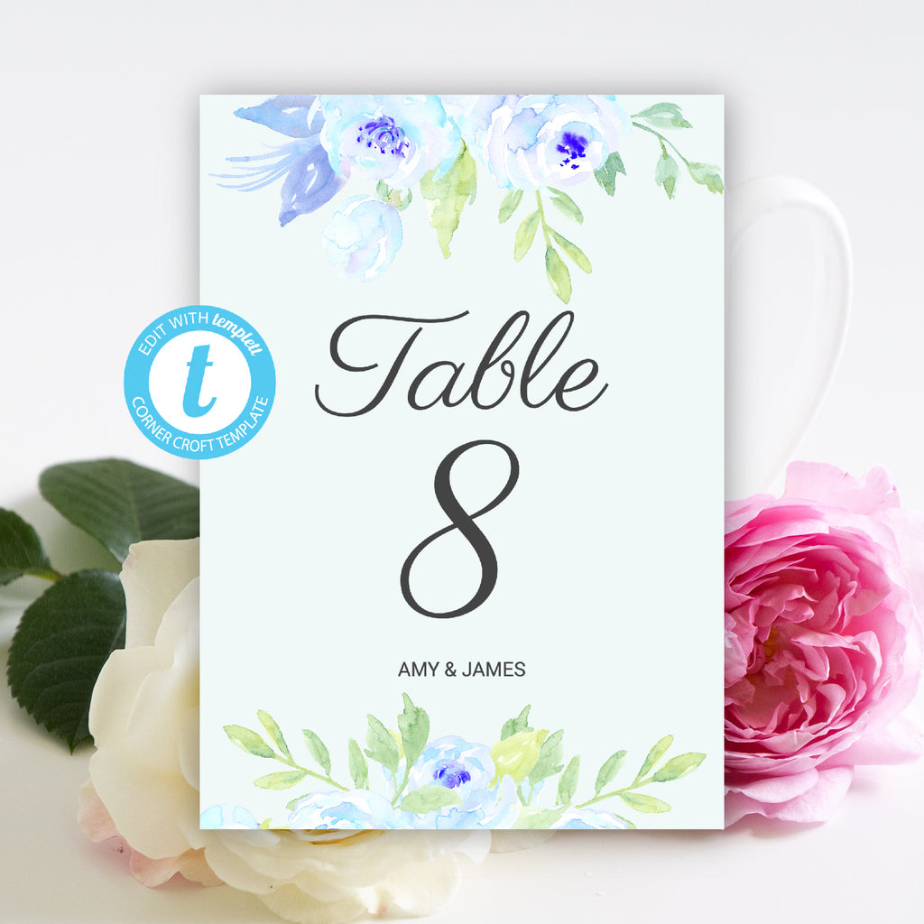watercolor blue peony wedding table number template, edit in templett app, edit, download, and print