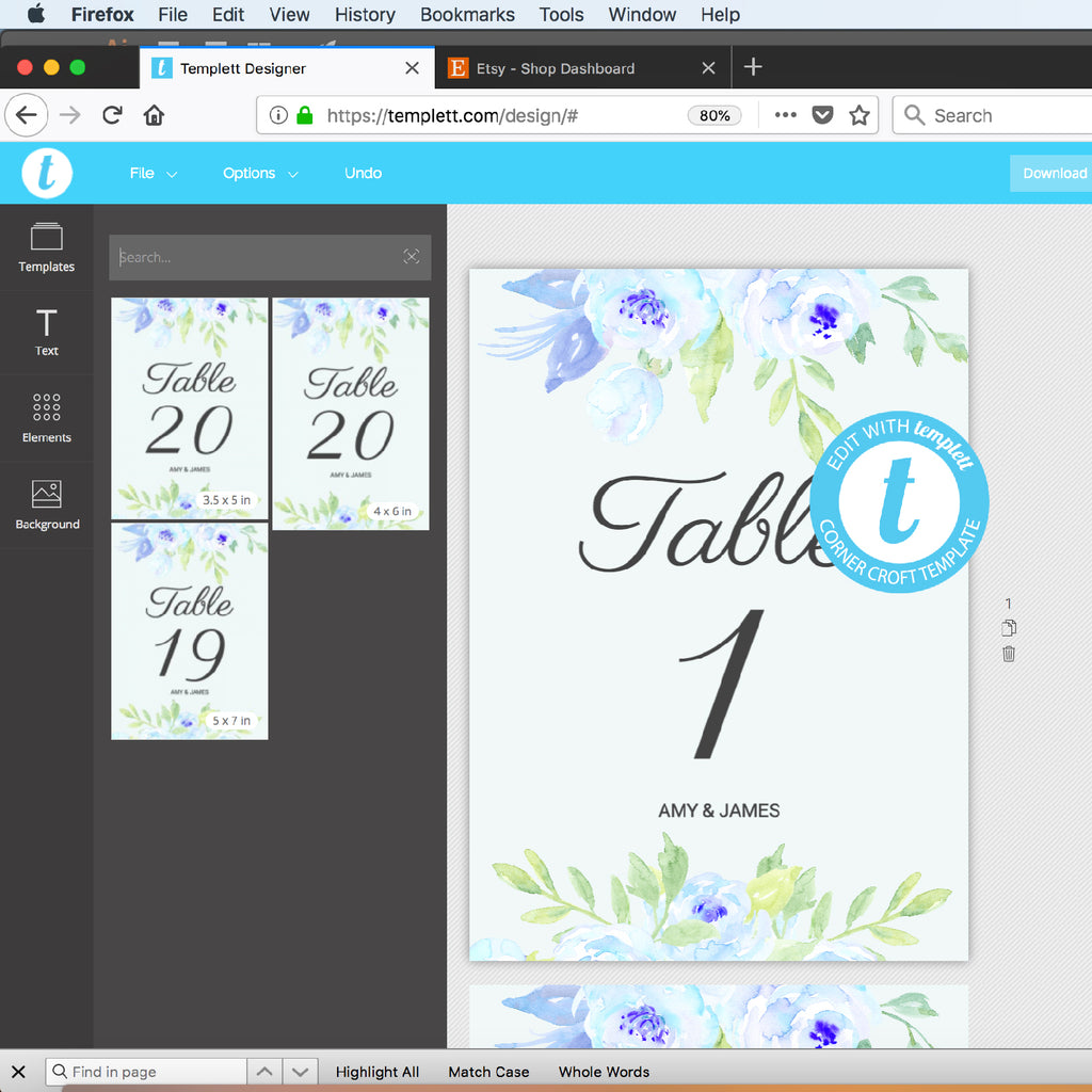 blue peony wedding template, table numbers template, templett app