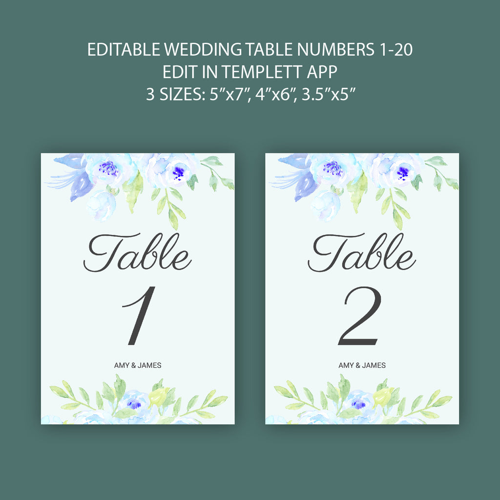 table number template, instant access, no program needed, web browse editing, templett