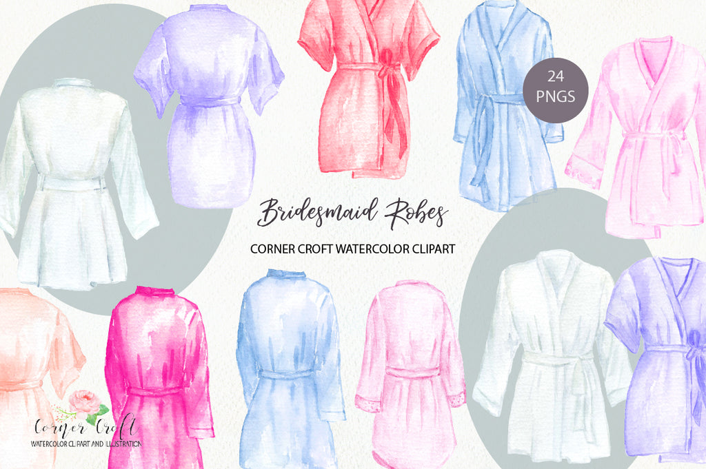 watercolor brides maid robe clipart, bridesmaid robe clipart, for personalised print
