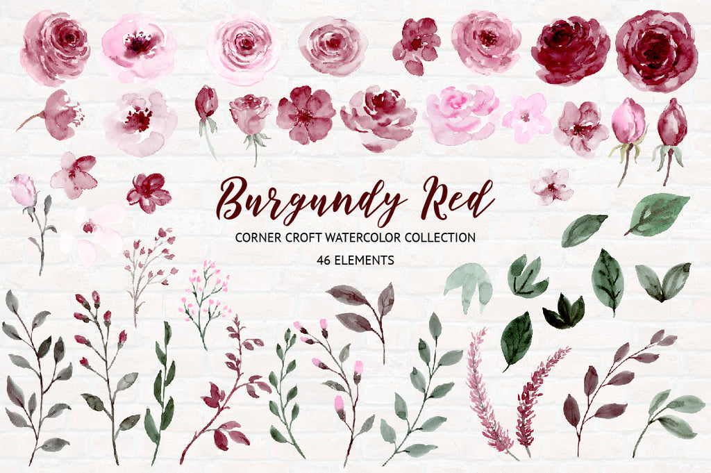 watercolor illustration, pink and red flowers, burgundy red clipart