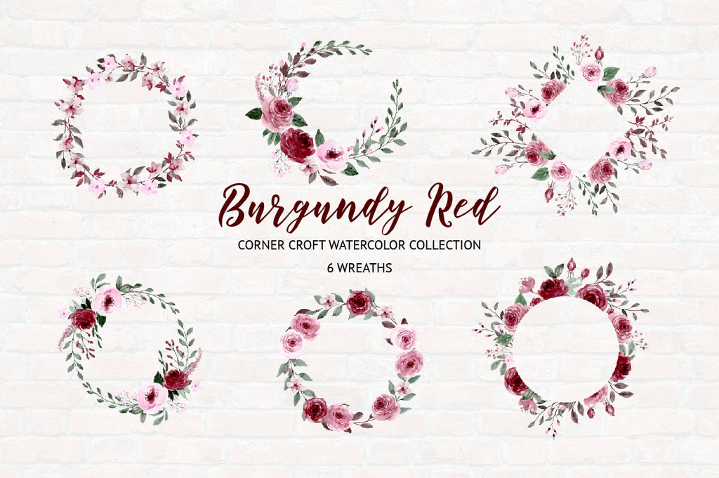 watercolor clipart burdgundy red floral wreath for wedding, logo design