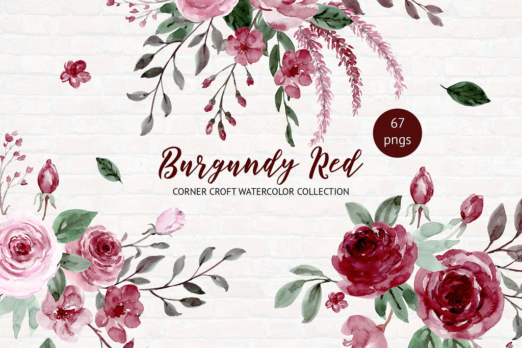 watercolor clipart burgundy red, floral posy and wreath instant download