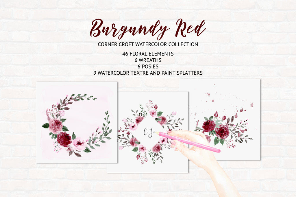 watercolour clipart deep red flowers, floral arrangements, wedding invitations
