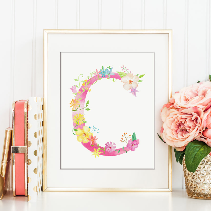 watercolour letter c, floral letter c, alphabet c printable, corner croft artwork