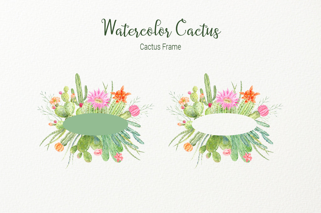 watercolor cactus frame, logo design, cactus illustration, botanical graphics