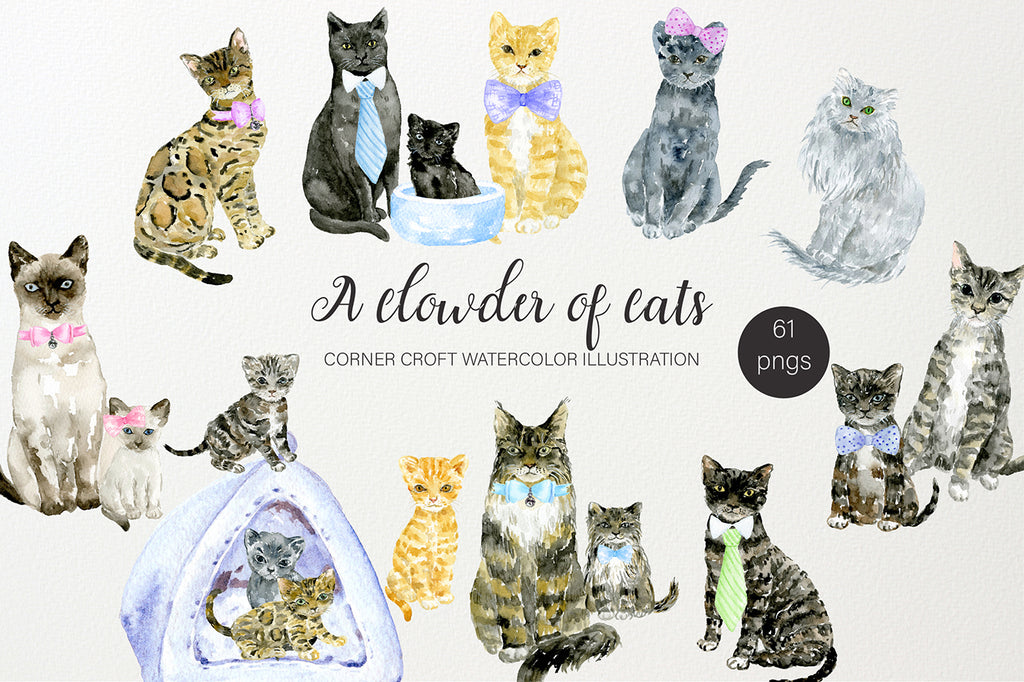 watercolor cat illustration, British Shorthair, Bengal, Siamese, Maine Coon and Persian.