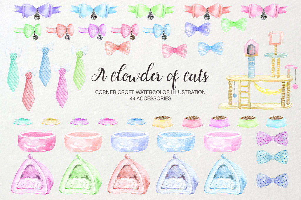 watercolor illustration of cat accessories, cat bowl, cat bow, cat bow tie