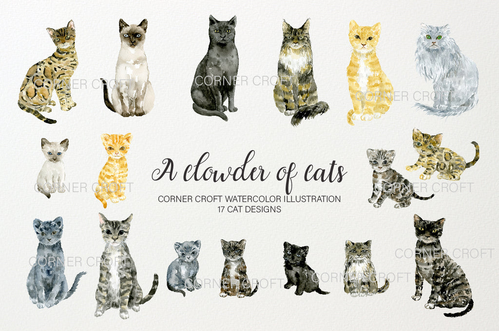 "watercolor clipart ""a clowder of cats"", cats and kittens, black and white cat, ginger cat"
