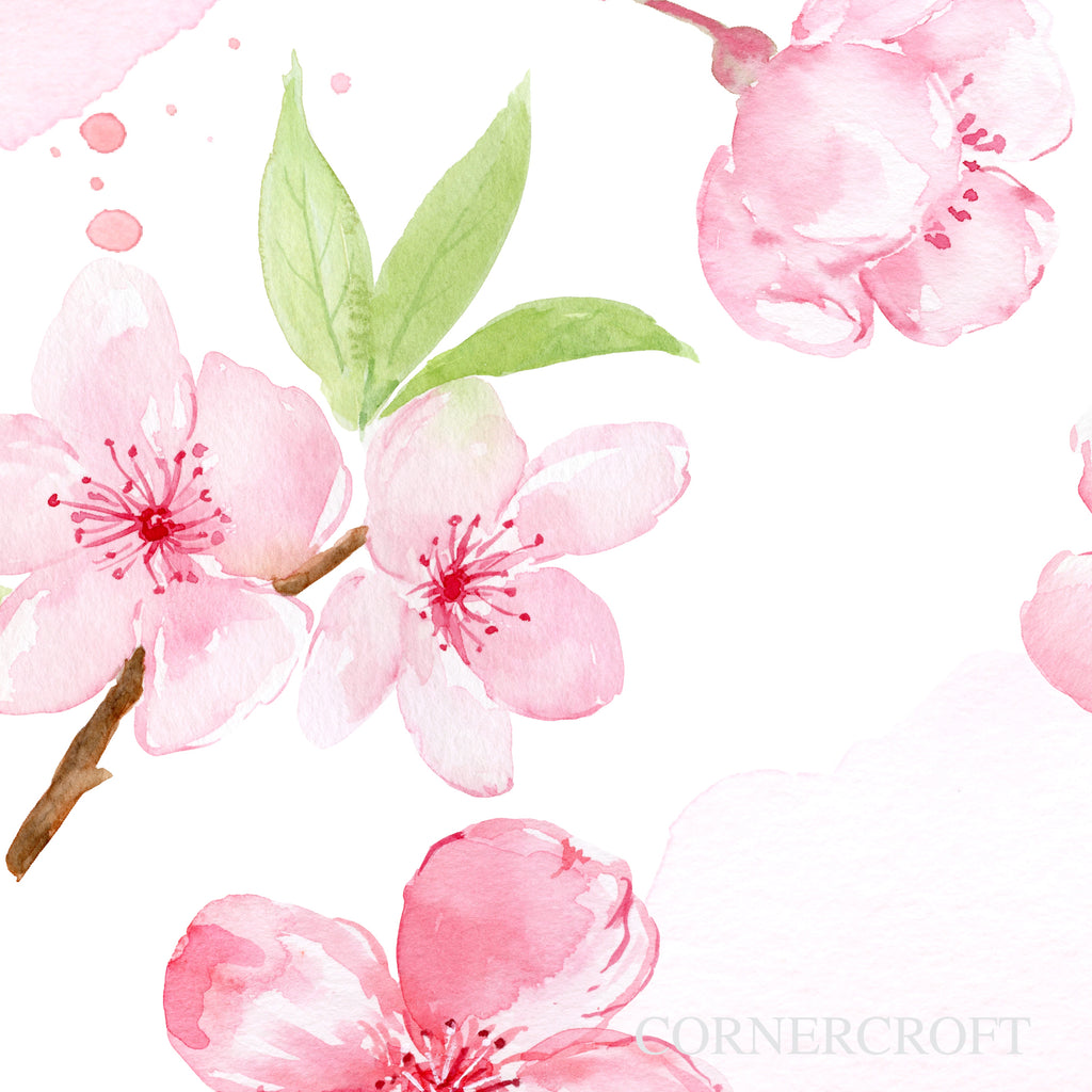 watercolor pink cherry blossom typography Be Our Guest