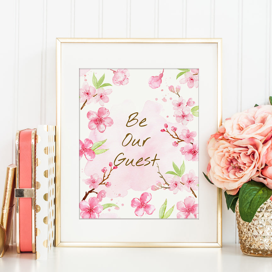 watercolor cherry typography be our guest editable template